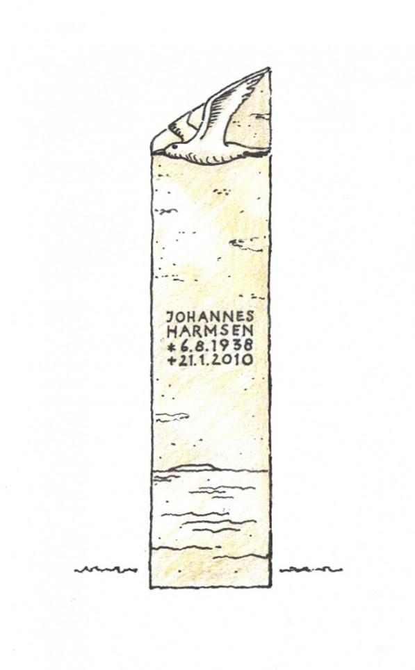 Stele mit Motiv einer fliegenden Möve